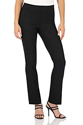 Rekucci Women's Ease Into Comfort Straight Leg Pant with Tummy Control (16,Black)