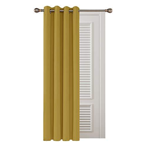 Deconovo Cortinas Opacas Térmicas Aislantes Frío y Calor para Salón Dormitorio Moderno 1 Pieza con Ojales 132 x 242 cm Amarillo