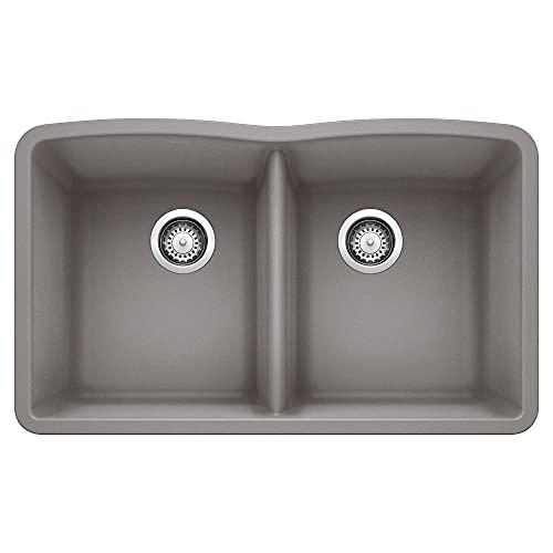 BLANCO, Metallic Gray 440183 DIAMOND SILGRANIT 50/50 Double Bowl Undermount Kitchen Sink