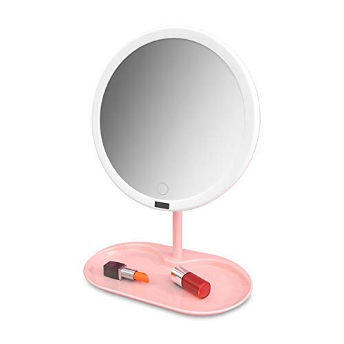 KANJJ-YU Maquillaje Plegable Espejo, la Pantalla táctil de atenuación Ajustable 270 ° de rotación, la batería y USB Alimentado Encendido for Arriba Encimera Espejo cosmético Espejo