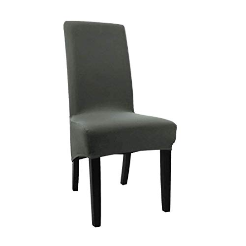 YeVhear Soft Home Chair Cover Strech Spandex Long Back Dining Chair Cover Protector Dark Grey Color