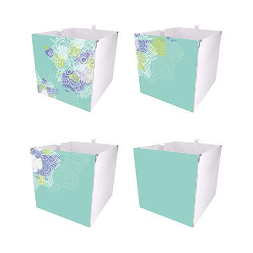 Debe Juego de 4 cajas Kallax, mandala, turquesa, Kallax, diseño por ambos lados, caja para Kallax, plegable, caja para Kallax, juego de 4 cajas Kallax
