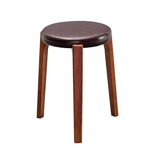 YLCJ Ronde kruk, stevige stoel, ronde houten tafel krukken, anti-slip kruk in gebogen hout stapelbaar voor het huis Woonkamer meubels voor kinderen (kleur: rood eiken, afmetingen: kleine boom stof) Dark brown PU Red-brown