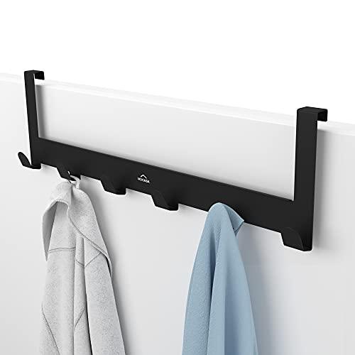 MDCASA Türgarderobe 1,5 cm Türfalz - Kleiderhaken Tür - Handtuchhalter Tür Bad - Türhakenleiste (Schwarz)