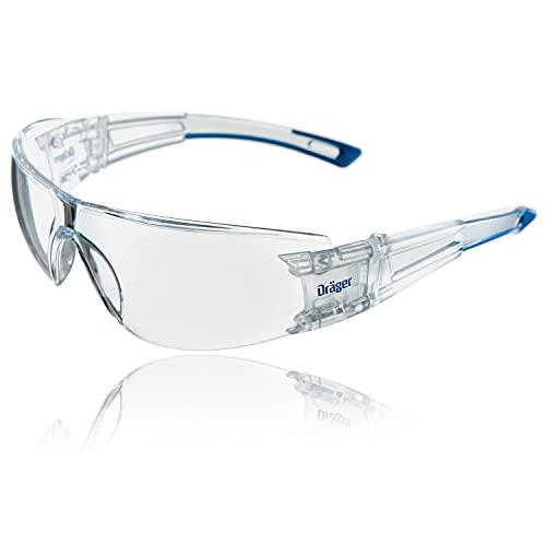 Dräger occhiali protettivi X-pect 8330 | Occhiali di sicurezza leggeri e regolabili | Adatto per cantiere, laboratorio, bici, jogging | Antiappannamento e antigraffio | senza parti metalliche | 1 pz.