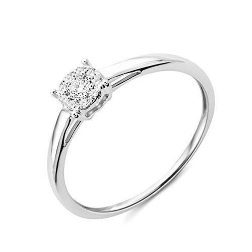 Miore Ring Damen Diamant Verlobungsring Weißgold 9 Karat / 375 Gold Diamanten Brillanten 0.10 Ct, Schmuck