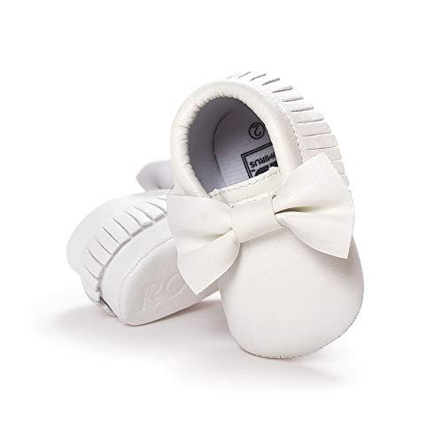 Morbuy Baby Schuhe PU Mädchen und Jungen Kleinkind Babyschuhe Neugeborene Fringed Bogen Anti-Rutsch Weiche Alleinige Krabbelschuhe Wanderer (12cm / 6-12 Monate, Niedlicher weißer Bogen)