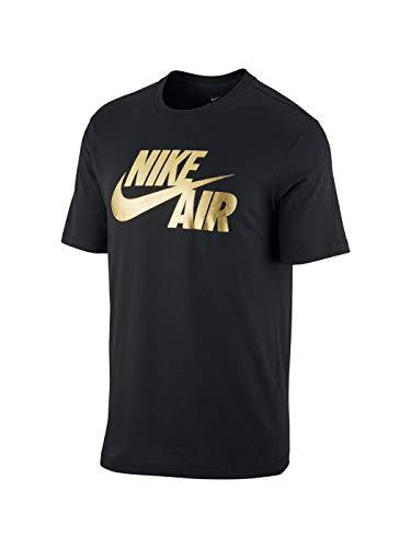 Nike Herren M NSW Ss Tee Preheat Air Good, Black/Gold Foil, S