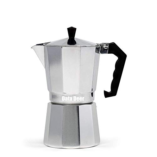 Data Deer Stovetop Espresso Maker with Great Flavored and Rich Brew Coffee Maker, Moka Pot for Gas Stove, Camping Stove, 6-Cup, Make Italian Espresso Coffee,Multi-color