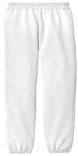 Joe's USA - Youth Soft and Cozy white sweatpants kids M(10-12)