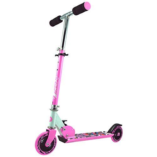 Best Sporting Scooter 125er Rolle, Basic Tretroller für Kinder, klappbar, ABEC-5 Kugellager, Farbe pink/weiß