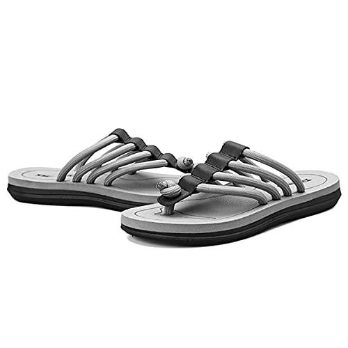 HOTRA Sandalias para hombre y adulto, para playa, piscina, natación, antideslizante, cojín de aire, para yoga, piscina, ducha, sandalias para el hogar (color: gris, tamaño: 39EU)