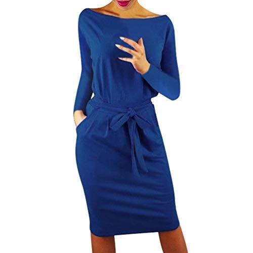 SHOBDW Mujeres de Manga Larga sólido Arco Casual Bolsillo Elegante Verano Ladies Club Fiesta de Noche Mini Vestido(Azul,S)