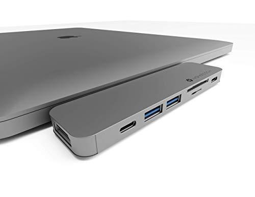 NOV8Tech Adaptador USB C at HDMI Hub para MacBook Pro 2020 M1 2019/2018/2017/2016 & MacBook Air 2020 M1 19/18 Gris, Lector UHS II SD/Micro SD, Thunderbolt 3 100w, USB C Data, 2X USB 3.0