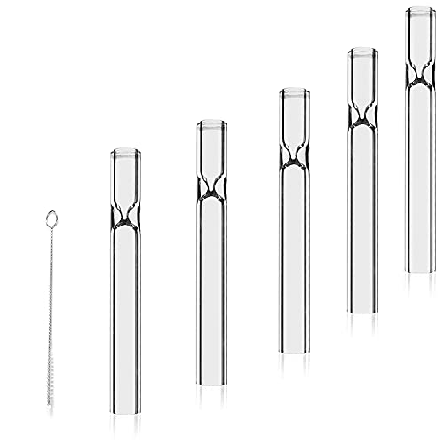 3 Inch Long Glass Tube, OD 10mm, ID 6mm,2mm Thick Wall Tubing, 5-Pack with 1 Cleaning Brush