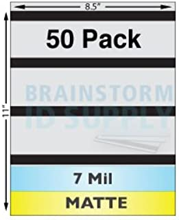"""7 Mil Matte Full Sheet Laminates with 1/2"""" HiCo Magnetic Stripes - 50 Pack"""