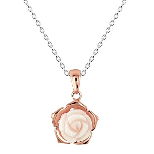 Dew Mother of Pearl Pink Carnation Rose Gold Plate Pendant 90802MPR028