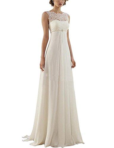 Mingxuerong Vestido de novia para mujer de 2017 con encaje en la playa, de gasa, con espalda descubierta, vestido de novia, Blanco, 36