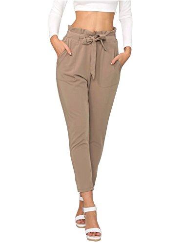 Simplee Apparel Damen Hosen Elegant High Waist Stretch Chiffon Skinny Hosen Pants Casual Streetwear Hosen mit Tunnelzug- Gr. 34 / S, Hell-Braun