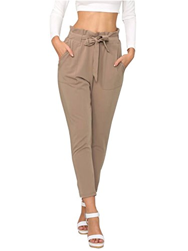 Simplee Apparel Women's Slim Straight Leg Stretch Casual Pants with Pockets Tan, 4/6