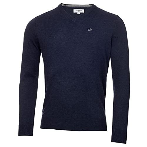 Calvin Klein Herren V-Ausschnitt Soft Cotton Pullover - Marine Marl - XXL