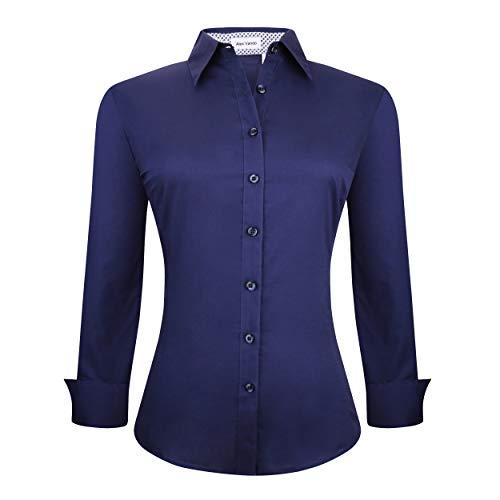 Alex Vando Womens Dress Shirts Regular Fit Long Sleeve Stretch Work Shirt,Navy,L