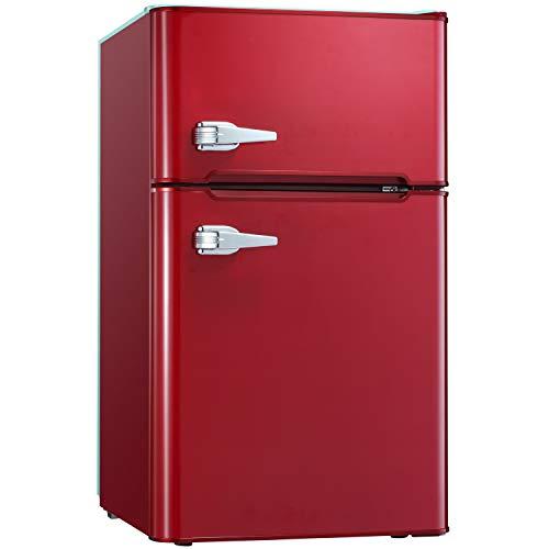 Tavata 3.2 Cu Compact Refrigerator Double Door Mini Fridge with Top Door Freezer,Small Drink Chiller for Home, Office,Dorm or RV Classic Red)