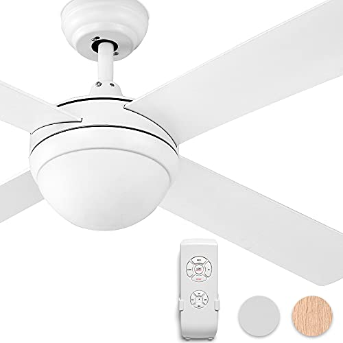 YITAHOME Ceiling Fans Indoor Outdoor with Light, 52 Inch Fanlight with Remote, 3 Color Temperature, 3 Speed, Reversible Motor, Timing, 2 Down-rods & Balance Kit (White)