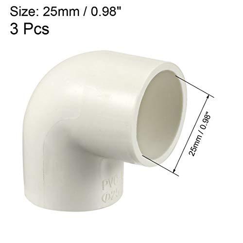 Sourcingmap Conector acodado para tuber/ías de PVC 25 mm, 3 unidades color blanco