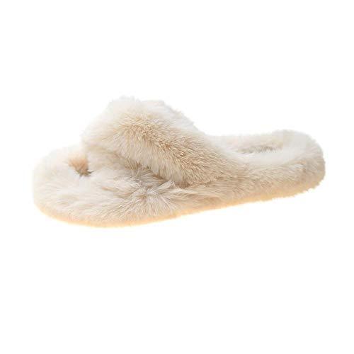 HUSHUI Forro Estilo Invierno Pantuflas,Pantuflas cálidas de Fondo Grueso, Use Pantuflas de Piel Cruzada-Blanco_37,Zapatillas Peluche Algodón Suave