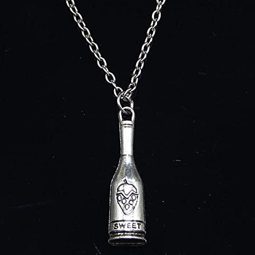 ZOJK Collar 30X8Mm Botella De Vino Tinto Colgante Dulce Corto Largo Mujeres Hombres Colar Regalo Joyas Gargantilla