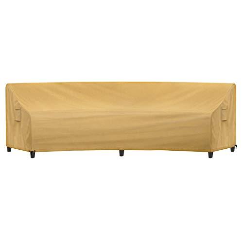 Sunkorto - Copridivano curvo per veranda, impermeabile, copertura per mobili da esterni, con prese d'aria e orlo a corda