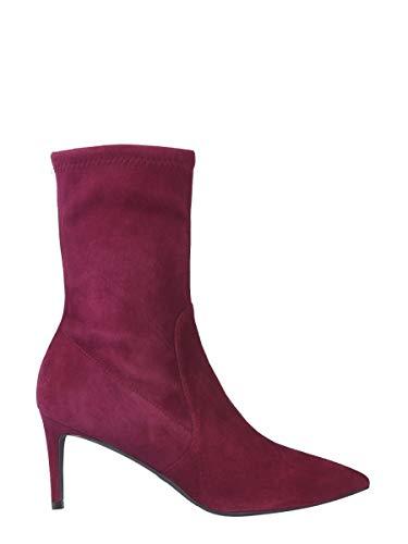 Stuart Weitzman Fashion Womens WREN75SUEDESTRCRANBERRY paarse enkellaarzen | Herfst-Winter 19