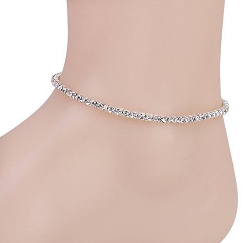Elastic Rhinestone Anklet Ankle Bracelet for Women---Silver