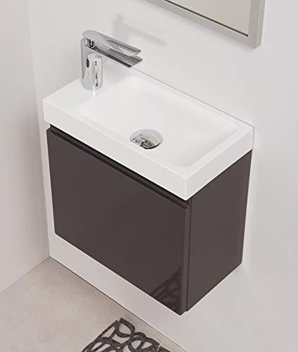 Quentis Badmöbel Gäste-WC Set Faros, Breite 40 cm, anthrazit glänzend