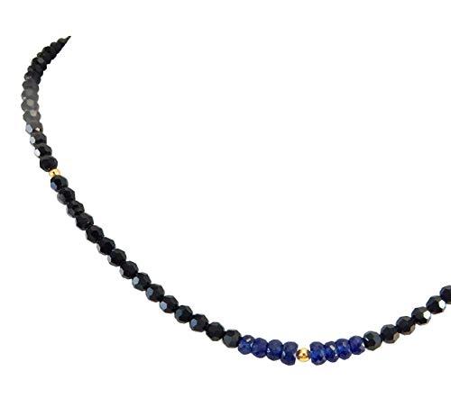 ROYAL JEWELRY(ロイヤルジュエリー) 4mm サファイア 宝石 18k ミラー ブラックダイヤカラー スワロフスキー R クリスタル ネックレス (45, ホワイトゴールド)