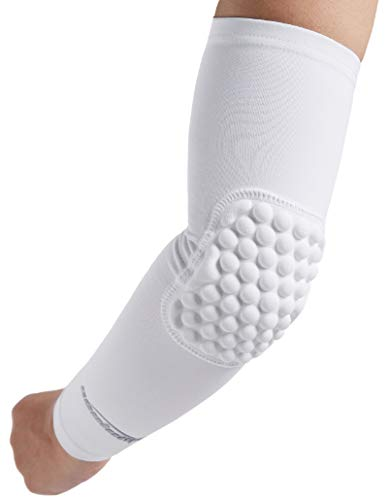 COOLOMG Padded Arm Sleeve Basketball Volleyball Compression Arm Sleeve (1 Sleeve ) Elbow Protection for Youth Boys Girls Adults White M