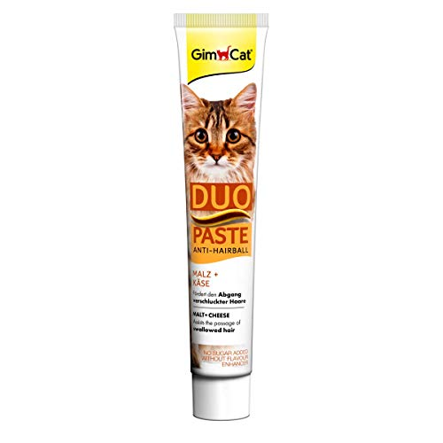 GimCat Duo Paste Anti-Hairball - Katzensnack fördert den Abgang verschluckter Haare - 1 Tube (1 x 50 g)
