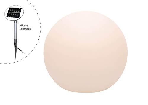 8 seasons design | LED Solarkugel Gartenleuchte Shining Globe (Ø 50 cm groß, warmweiß, Solarpanel, Dämmerungssensor, UV-beständig, Solarleuchte für Garten, außen) weiß