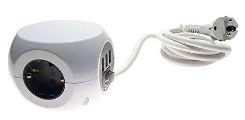 Stopcontactenblok met 3 x geaarde stopcontact + 3 x USB-aansluiting + schakelaar - netsnoer 1,4 m