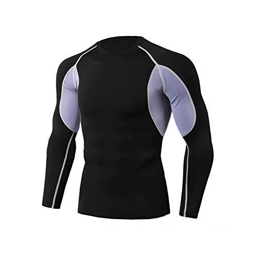 Mikelabo - Camiseta de compresión para hombre, de manga larga, con estampado de manga larga, para hombre, de compresión