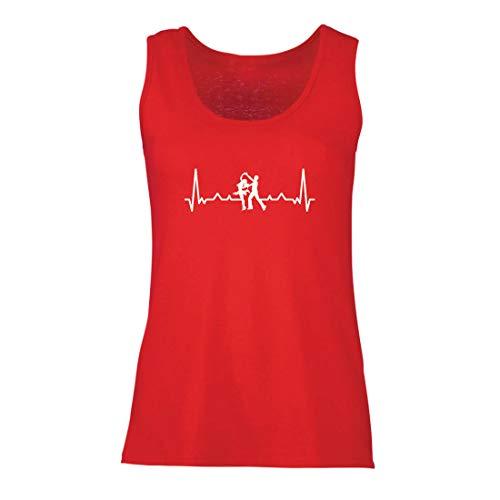 lepni.me Camisetas sin Mangas para Mujer Bailando con el Latido del corazón, Camisa de Amante de la Danza, Traje de Bailarina (Large Rojo Multicolor)