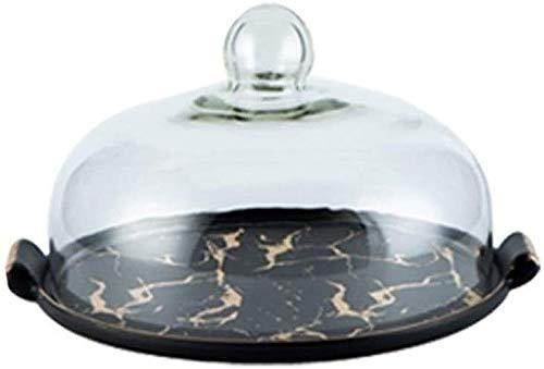 Porta Tartas Redondo Torta de placa de cerámica negra vintage, bandeja de fruta de mármol con barra de mármol Sandwich Textura Cúpula de cristal Cobertura de la familia Conservación LQHZWYC