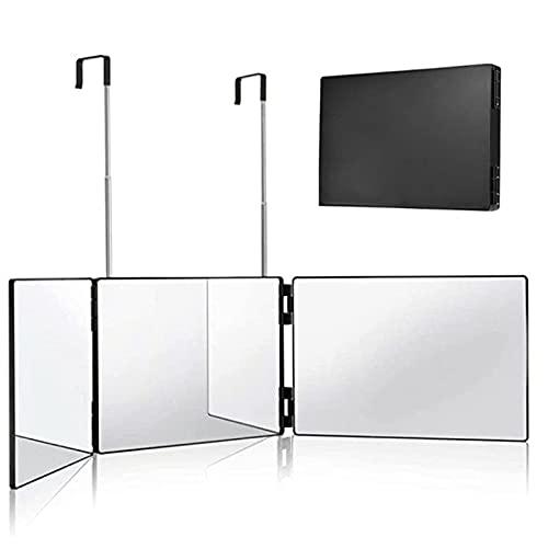 APCHY Miroir 360° - Self Cut Mirror - Miroir 3 Faces Pliable avec Crochets Adaptables sur Toutes Les Surfaces,Noir