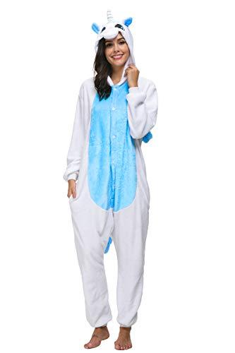 chuangminghangqi Pyjamas Einhorn Jumpsuit Kostüm Overall Flanell Erwachsene Unisex Karnevalskostüme Cosplay (S: Für Höhe 145-154 cm, Einhorn Blau)