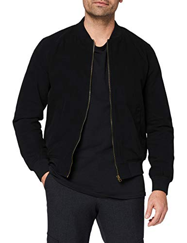 Marca Amazon - find. Cotton Canvas Chaqueta bomber para Hombre, Negro, XL, Label: XL