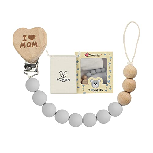 ARTESTAR Baby Schnullerkette Junge MäDchen Silikon BeißRing Schnuller Herzform Pacifier Chain Personalisierte Schnullerkette Holz Dummy Clips (Hellgrau)