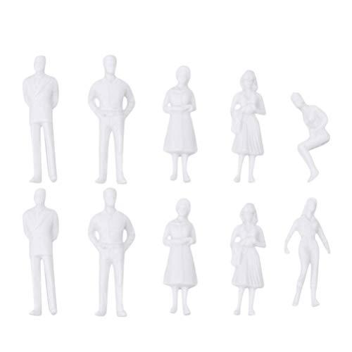 TOYANDONA 10 Stück Miniatur Menschen Architektur Menschliche Figuren Lebensechte Mini Weiße Menschen Modell Spielzeug Sandkasten Dekoration für Kinder Erwachsene (1: 50 36Mm)