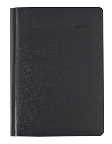 Buchkalender Balacron schwarz 2021 - Büro-Kalender A5 - Cheftimer - 1 Tag 1 Seite - 416 Seiten - Balacron-Einband - Alpha Edition