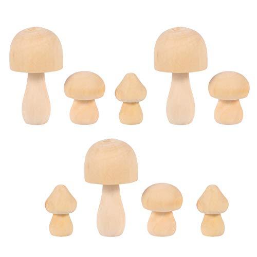 EXCEART 9 Stücke DIY Holzfiguren zum Bemalen Basteln Miniatur Pilz Ornamente Tortenfiguren Holz Figurenkegel Figuren Holzkegel Holzpuppen für Tortendeko Kinder Bastelset Feengarten Deko Figuren